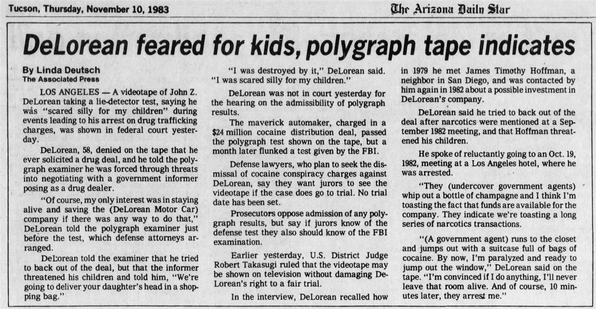 1983-11-10 - Arizona Daily Star - DeLorean feared for kids, polygraph tape indicates | DeLoreanDirectory.com