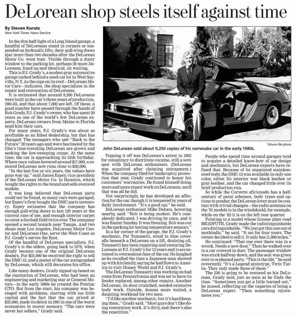 Chicago Tribune-Sun - May 22, 2005 | DeLoreanDirectory.com