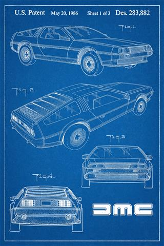 DeLorean Patent Poster - blue background | DeLoreanDirectory.com