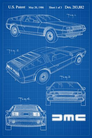 DeLorean Patent Poster - blue grid background | DeLoreanDirectory.com