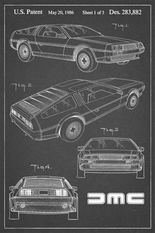 DeLorean Patent Poster - charcoal background | DeLoreanDirectory.com