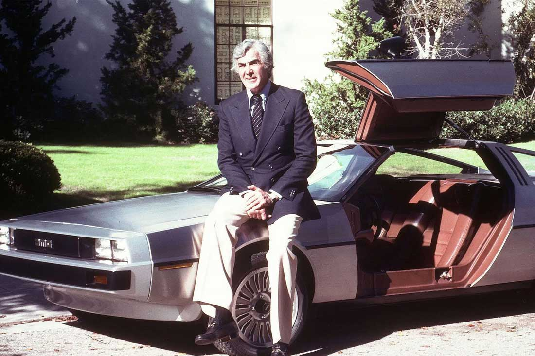 "John DeLorean with DeLorean ""Proto 1"" 