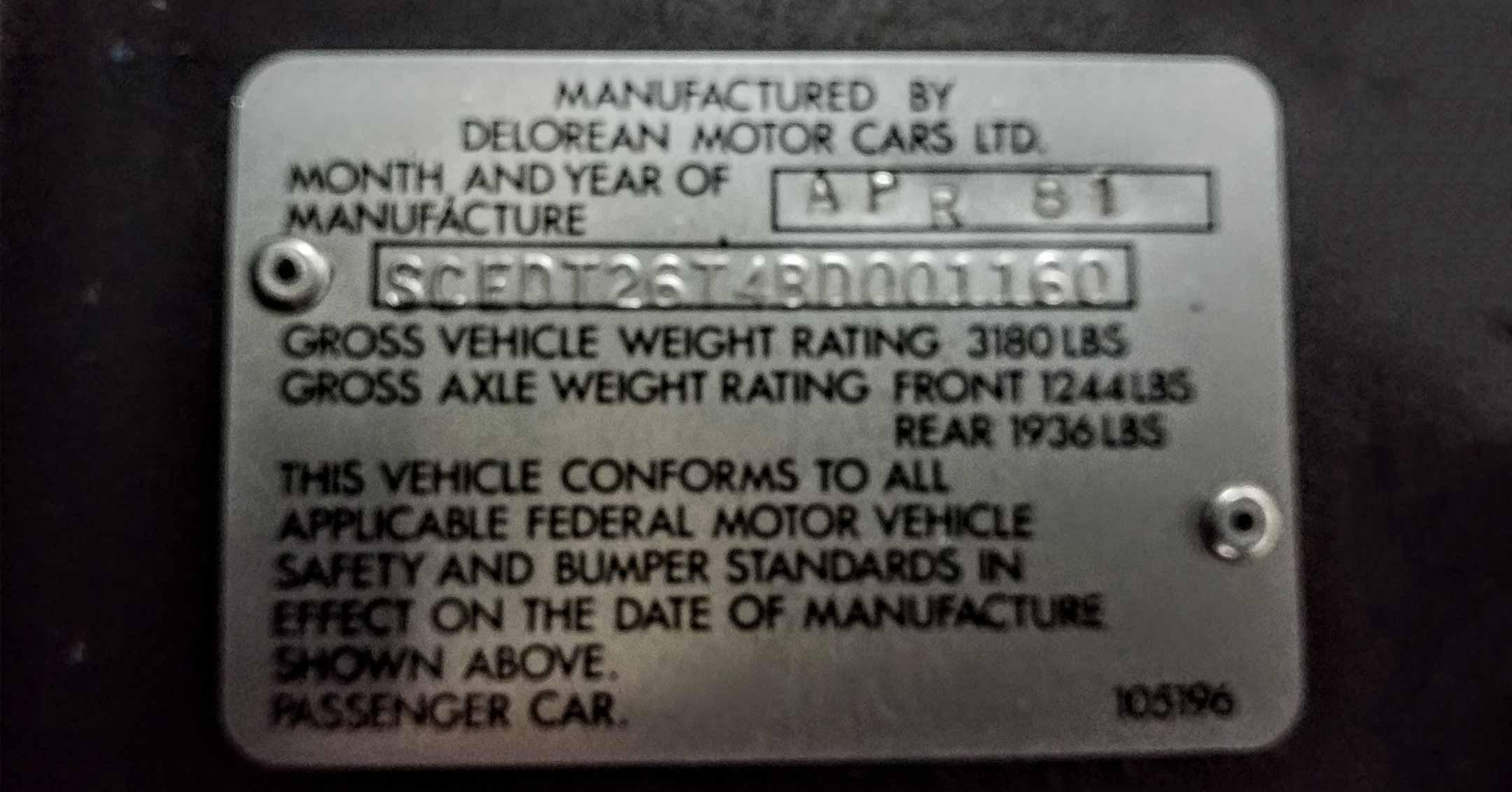 SCEDT26T4BD001160 | DeLoreanDirectory.com