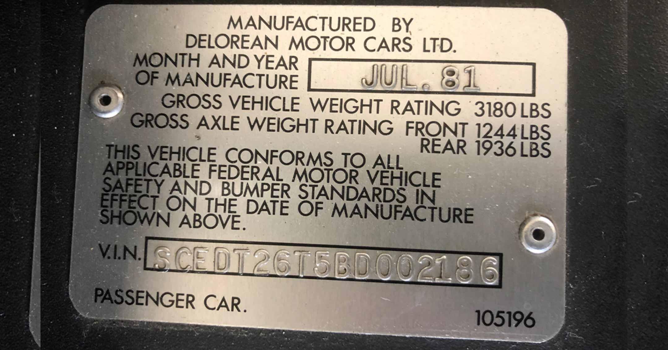 SCEDT26T5BD002186 | DeLoreanDirectory.com