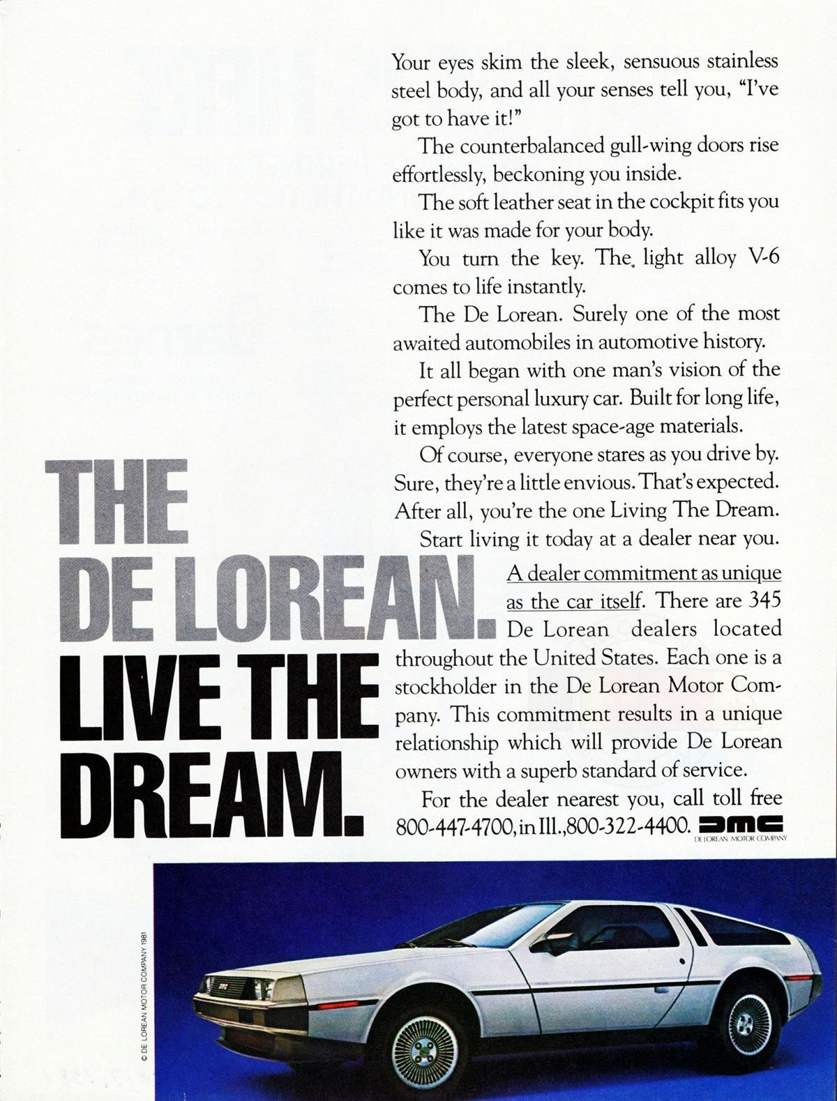 The De Lorean - Live The Dream ad | DeLoreanDirectory.com